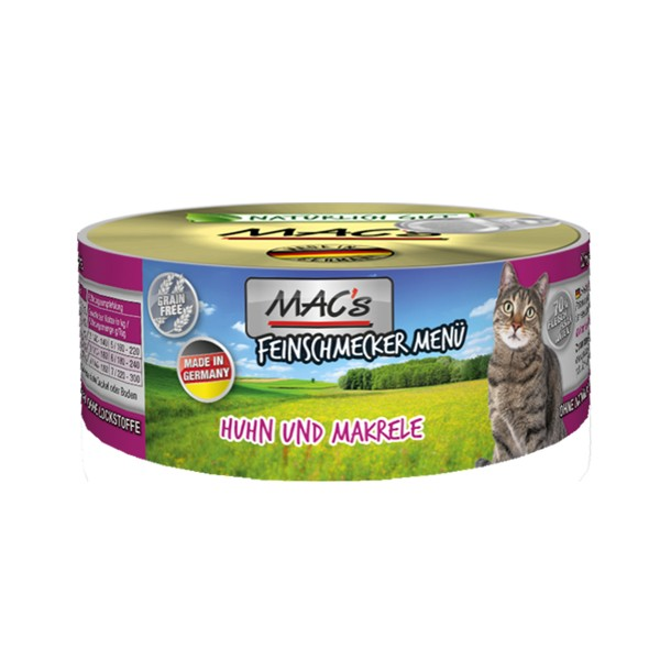 MAC's Cat Katzenfutter Feinschmecker Menü Huhn, Makrele und Ei
