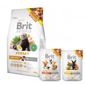 Probierpaket Brit Animals Ferret Complete 700g + Alfalfa Snack 100g + Immune Stick 80g