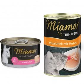 Miamor Feine Filets in Jelly Huhn und Reis 24x100g + Trinkfein 135ml GRATIS!