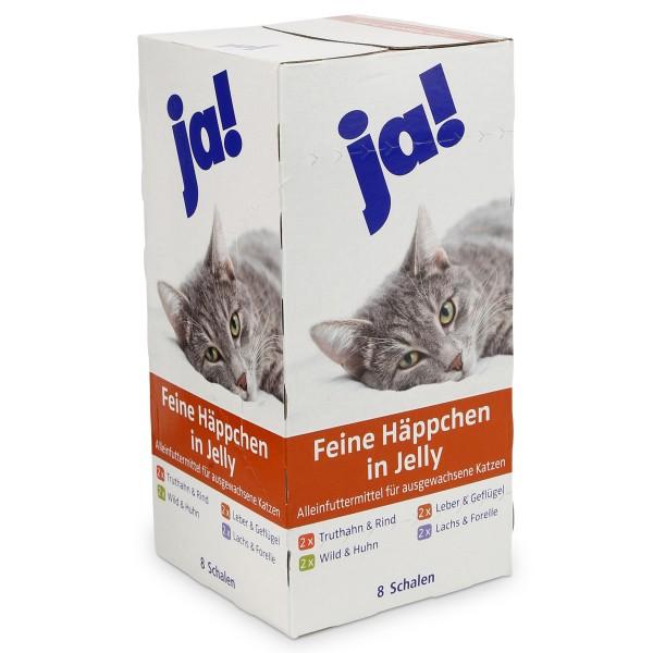 ja! Katzenfutter Adult Feine Häppchen in Jelly 8x100g
