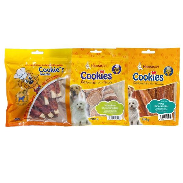 Hansepet Hundesnack Cookies Delikatess Probierpaket 6x200g