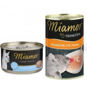 Miamor Feine Filets in Jelly Thunfisch und Shrimps 24x100g + Trinkfein 135ml GRATIS!