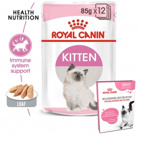 ROYAL CANIN Kitten Loaf Mouse Paté 12x85g + ROYAL CANIN Willkommens-Box Kitten