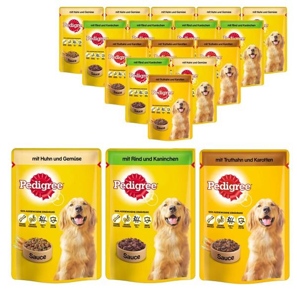 Pedigree Hundefutter in Soße mit Huhn, Truthahn, Rind und Kaninchen 72x100g Pouches