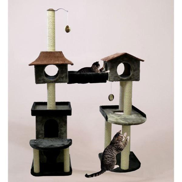 Silvio Design Cat-Castle Kratzbaum grau/ziegelrot
