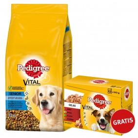 Pedigree Senior Huhn, Reis und Gemüse 13kg plus Multipack Gelee 12x100g GRATIS