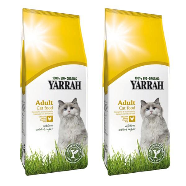 Yarrah Bio Katzenfutter Trockenfutter Fisch oder Huhn 100% Biologisch 2x10kg