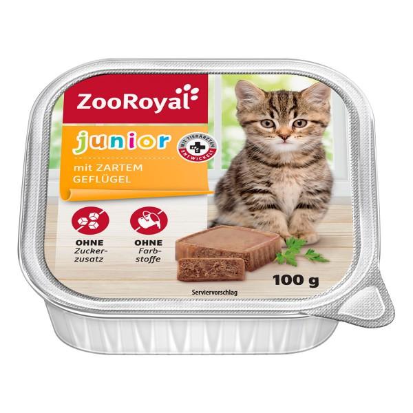 ZooRoyal Katzen-Nassfutter Junior mit Geflügel - 8x100g