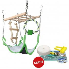 Trixie Hängebrücke mit Hängematte PLUS Salzleckstein GRATIS