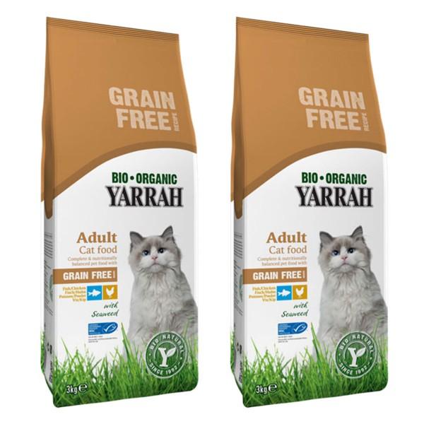 Yarrah Katzenfutter Bio Huhn & Fisch Getreidefrei 2x3kg