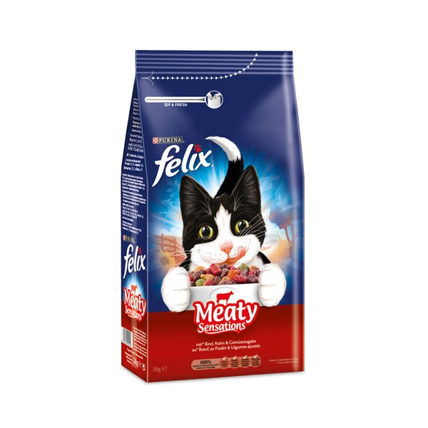 Felix Sensations - Croquettes pour chats à la viande Meaty Sensations 2 kg