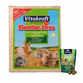 Vitakraft Kleintierstreu 60l PLUS Vitakraft Emotion Crispy Balls Herbal 80g gratis!