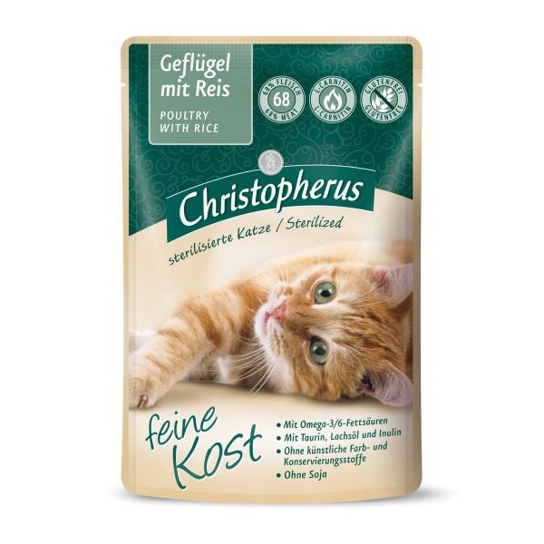 Christopherus Katze Adult Sterilized Geflügel mit Reis 12x85g