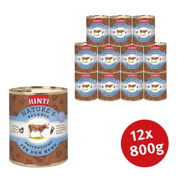 Rinti Nassfutter Nature's Balance mit Kalb, Pasta und Ei 800g