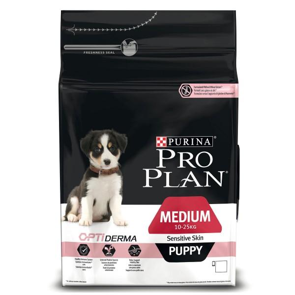 Pro Plan Medium Puppy für sensible Haut mit Optiderma reich an Lachs 3kg