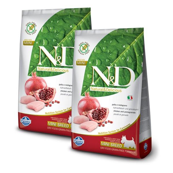 N&D Hundefutter Huhn&Granatapfel Mini Adult getreidefrei 2x12kg