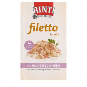 Rinti Hunde-Nassfutter Filetto in Jelly Huhn und Schinken 125g
