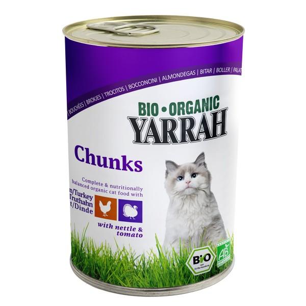 Yarrah Katzenfutter Bio Bröckchen Huhn und Truthahn 12x405g
