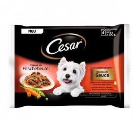 Cesar Feines im Frischebeutel Selektion in Sauce Multipack 4x100g