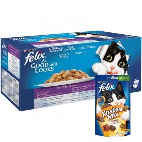 Felix So gut wie es aussieht Geschmacksvielfalt vom Land 44x100g + Knabber Mix Orginal 6x60g GRATIS