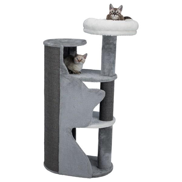 Trixie Kratzbaum Abele mit Katzensilhouette - grau/weiß/grau 120cm