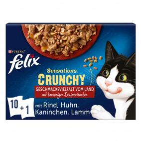FELIX Sensations Crunchy Geschmacksvielfalt vom Land 10x85g + 1x40g Knusperstückchen