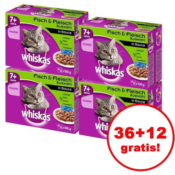 Whiskas 7+ Fisch & Fleischauswahl in Sauce 12er Multipack 36 plus 12 gratis