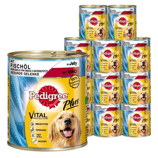 Pedigree Plus Hundefutter mit Fischöl, Rind in Gelee