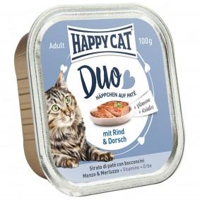 Happy Cat Paté auf Häppchen Rind & Dorsch 12x100g