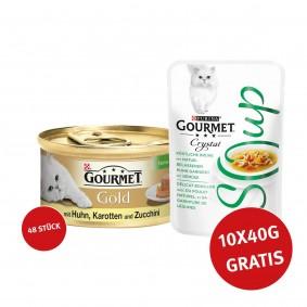 Gourmet Gold Terrine Huhn, Karotten & Zucchini 48x85g + Crystal Soup Huhn und Gemüse 10x40g GRATIS!