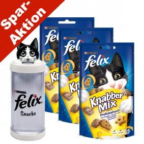 Felix Knabber Mix Dreikäsehoch 3er Pack - Gratis Snackspender