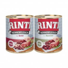 Rinti Kennerfleisch 24x800g Ente und Rentier Mixpaket