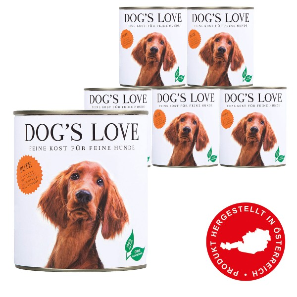 Dog's Love Classic Pute mit Apfel, Zucchini & Walnussöl 800g 11 plus 1