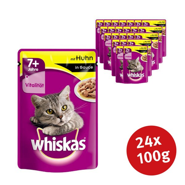 Whiskas Katzenfutter 7+ mit Huhn in Sauce 24 x 100g