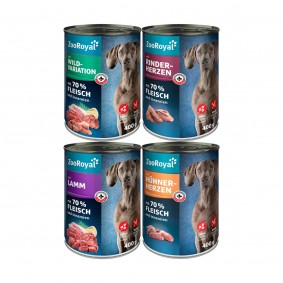ZooRoyal Mixpaket mit Hühnerherzen, Rinderherzen, Lamm & Wild 24x400g