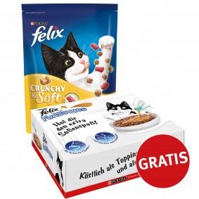 FELIX Crunchy & Soft Huhn 4x950g plus FunSauces Mischpaket gratis