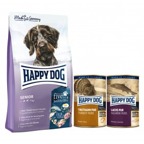 Happy Dog Supreme fit & vital Senior 12kg + 400g Truthahn + 375g Lachs