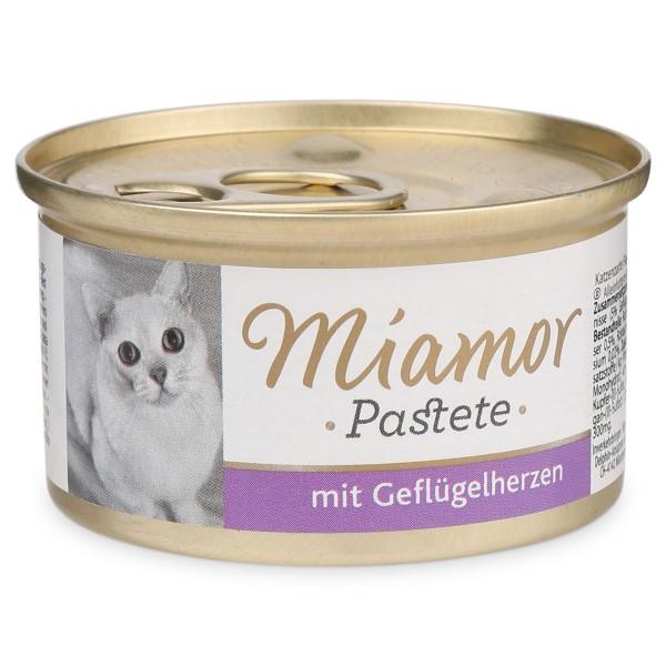 Miamor Nassfutter Katzenzarte Fleischpastete mit Geflügelherzen