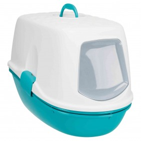 Toaleta pro kočky Berto, 3dílná, soddělovacím systémem, tyrkysová/bílá