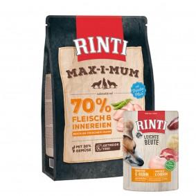 Rinti Max-i-Mum Huhn 1kg + Rinti Leichte Beute Rind pur + Huhn 10x400g Sparset