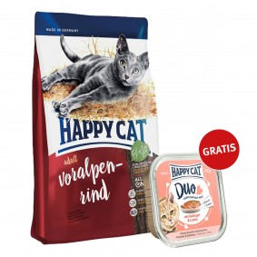 Happy Cat Supreme Adult Voralpen-Rind 300g plus Paté Geflügel & Lachs 100g