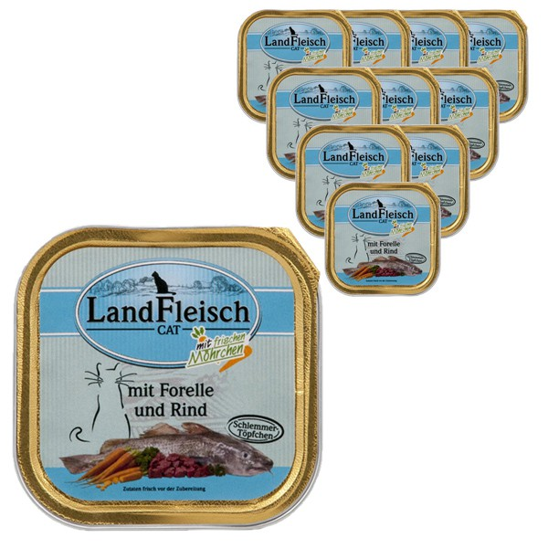 Landfleisch Cat Schlemmertopf Forelle & Rind 30x100g