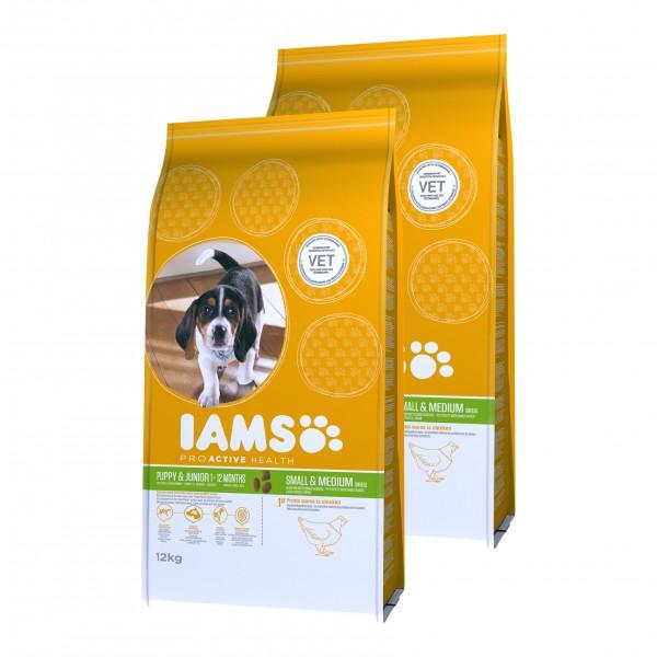 IAMS Hund Trockenfutter Puppy & Junior Kleine & Mittelgroße Rasse Huhn 2x12kg