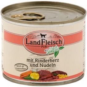 Landfleisch Hunde-Nassfutter Dog Pur Rinderherz und Nudeln