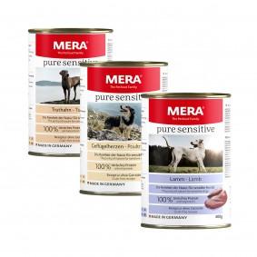 Mixpaket Meradog pure sensitive Nassfutter MEAT Truthahn, Geflügelherzen, Lamm 6x400g