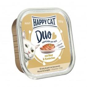 Happy Cat Paté auf Häppchen Rind & Kaninchen 100g