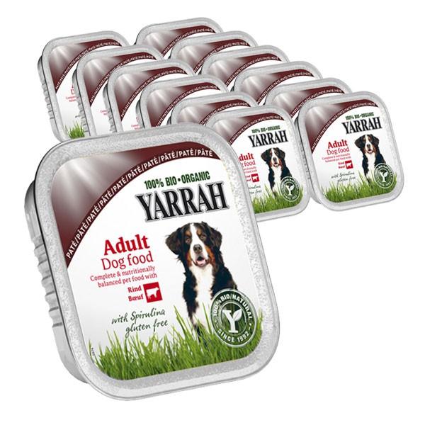 Yarrah Hundefutter Bio Pate Rind Spirulina 14x150g