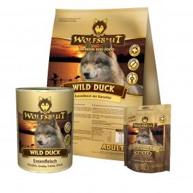 Wolfsblut Wild Duck 2x15kg + 395g Nassfutter & 225g Snacks GRATIS
