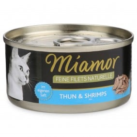 Miamor Feine Filets Naturelle Thunfisch und Shrimps 80g Dose