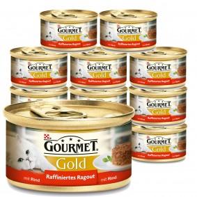 Gourmet Katzenfutter Gold Raffiniertes Ragout Rind 12x85g